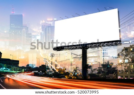 double exposure of blank billboard for advertisement at twilight time with light trails on the road at dusk  #520073995