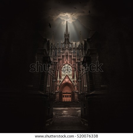 Gothic Church and storm. Apocalypse background.