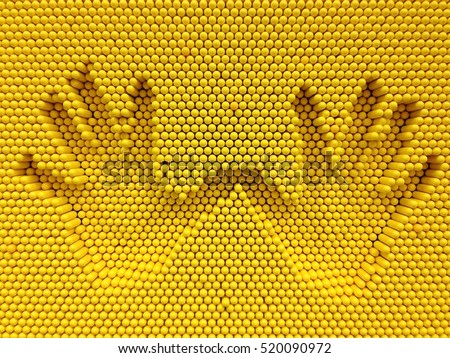 Two hand print on the yellow pins toy background, playground equipment board