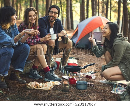 Friends Camping Eating Food Concept #520119067