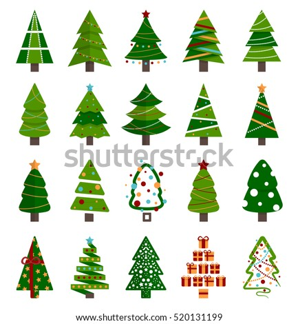 Different Christmas tree set, vector illustration. Can be used for greeting card, invitation, banner, web design.