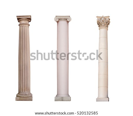 ancient columns of Ionic, Doric and Corinthian ordo are isolated Royalty-Free Stock Photo #520132585