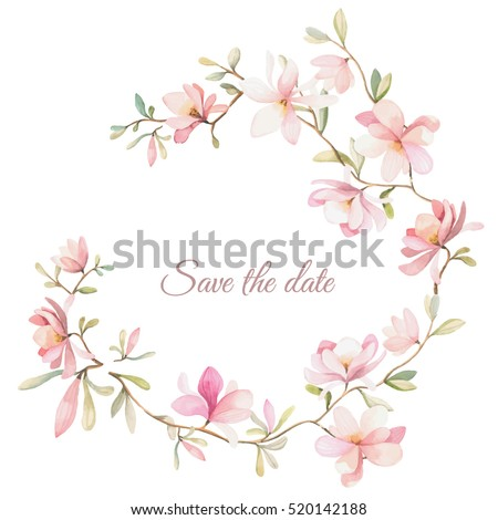wreath of flowers in watercolor style with white background Royalty-Free Stock Photo #520142188