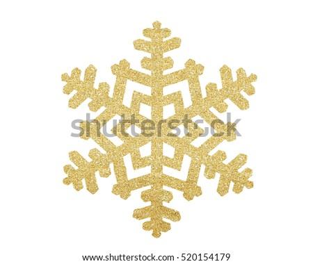 Golden Christmas snowflake isolated on white background Royalty-Free Stock Photo #520154179