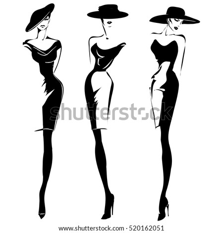 Black and white retro fashion models set in sketch style. Hand drawn vector illustration