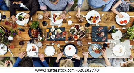 Group Of People Dining Concept Royalty-Free Stock Photo #520182778