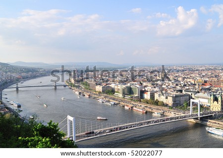 Beautiful view on Budapest and river Danube from hill Gellert #52022077