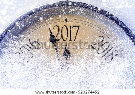 Countdown to midnight. Retro style clock counting last moments before Christmas or New Year 2017. #520274452
