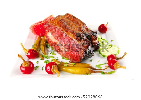beef meat and red peppers on white #52028068