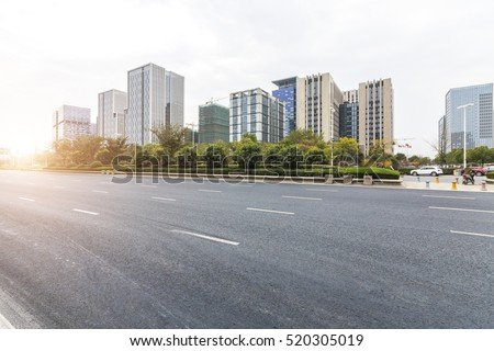 Empty urban road and buildings  #520305019