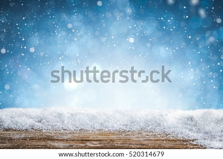 snow background light floor cold empty blue wooden space white table xmas top counter plank season wood card january frost falling concept - stock image