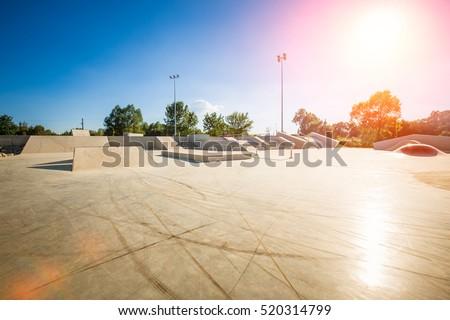 skating skate park skatepark design skateboard skateboarding empty concrete - stock image