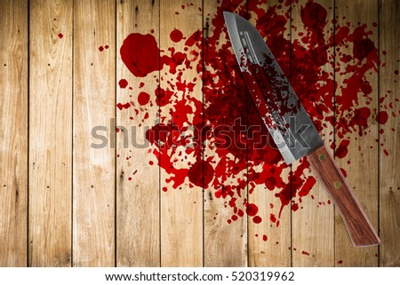 knife with grunge of blood on wood floor, halloween bloody murder or death crime killer violation concept. #520319962