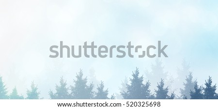 Winter background silhouettes of christmas trees with snow and stars