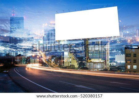 double exposure of blank billboard for advertisement at twilight time with light trails on the road at dusk  #520380157