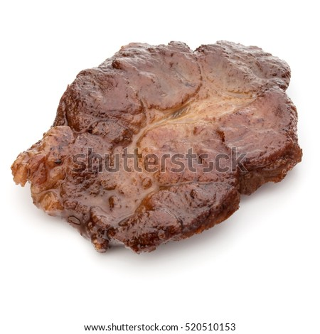 Cooked fried pork meat isolated on white background cutout #520510153