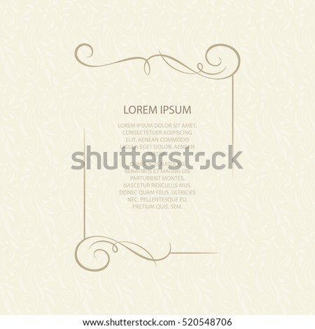 Vector decorative frame. Elegant element for design template, place for text. Floral border. Lace decor for birthday and greeting card, wedding invitation. Royalty-Free Stock Photo #520548706