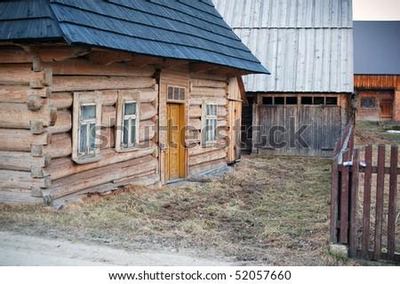 Traditional polish wooden hut from Zakopane region. Tatra mountains area. #52057660