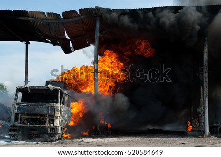 extinguishing a fire in the car #520584649