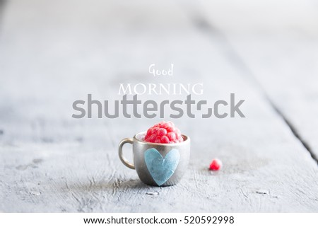 Coffee mug with raspberries and notes good morning, breakfast on Mothers day or Womens