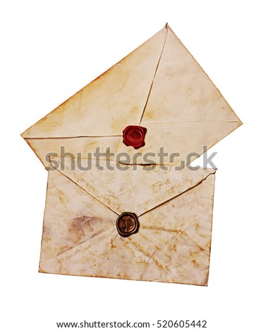 Two old envelopes with red and brown seal wax isolated on white #520605442