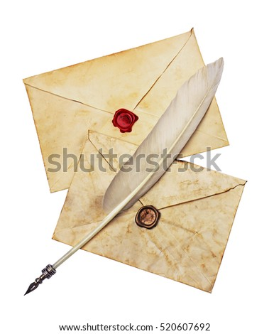Two old envelopes with red and brown seal wax and feather pen isolated on white #520607692