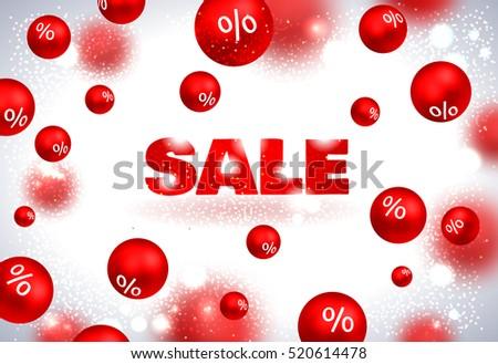 Set of red sale christmas balls background. Vector illustration. #520614478