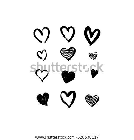 Set of unique hand drawn hearts. Painted design elements.