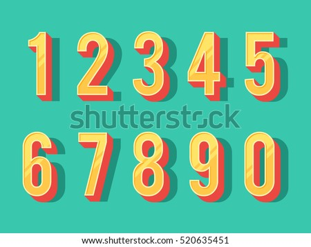 Numbers colourful set in vintage style. Vector elements illustration template for web design or greeting card Royalty-Free Stock Photo #520635451