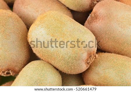 Green kiwi fruit (Actinidia deliciosa), close up shot #520661479