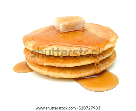 Stack of pancakes isolated on white background Royalty-Free Stock Photo #520727983