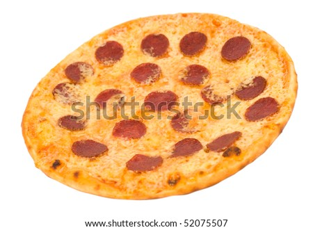 a pizza with pepperoni, on white background, clipping path #52075507
