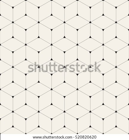 Vector seamless pattern. Modern stylish texture. Repeating geometric background with linear rhombuses and filled triangles in nodes. Trendy hipster sacred geometry.