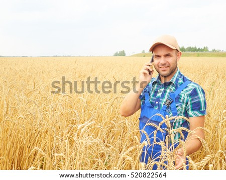 Farmer in a plaid shirt controlled his field. Talking on the phone. Wheat harvest. Agriculture. #520822564