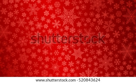 Christmas background of big and small snowflakes in red colors.