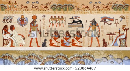 Ancient egypt scene. Hieroglyphic carvings on the exterior walls of an ancient egyptian temple. Grunge ancient Egypt background. Hand drawn Egyptian gods and pharaohs. Murals ancient Egypt.  #520864489