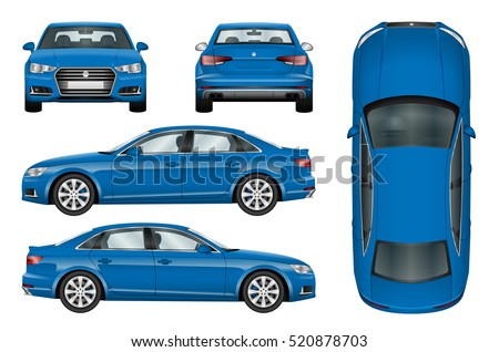Blue car vector template on white background. Business sedan isolated. All elements in groups on separate layers. The ability to easily change the color. Royalty-Free Stock Photo #520878703