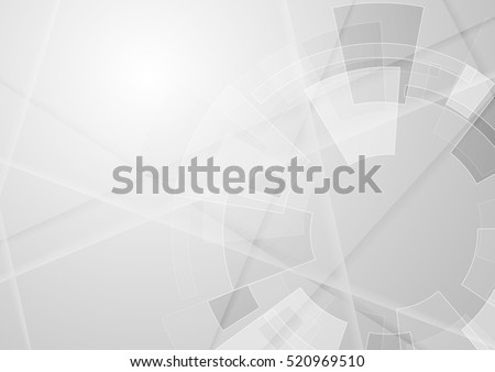 Grey geometric technology background with gear shape. Vector abstract graphic design Royalty-Free Stock Photo #520969510
