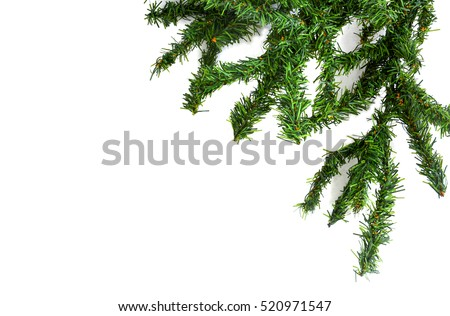 branches of artificial Christmas tree border on white background #520971547