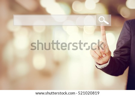 Search engine optimize on business web bar banner, buisnessman hand touching button of blank search bar screen background, business and technology concept, web banner,Search engine optimize concept #521020819