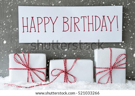 White Gift With Snowflakes, Text Happy Birthday