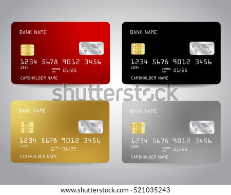 Realistic detailed credit cards set with colorful abstract design background. Golden credit card. Silver credit card. Vector illustration design EPS10 Royalty-Free Stock Photo #521035243