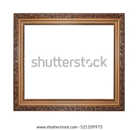 Gold color picture frame isolated on white.