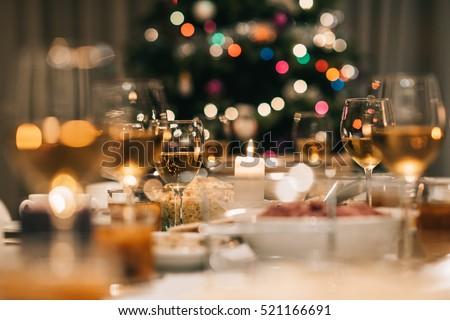 Christmas dinner feast Royalty-Free Stock Photo #521166691