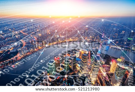 Shanghai City Scenery big data Royalty-Free Stock Photo #521213980