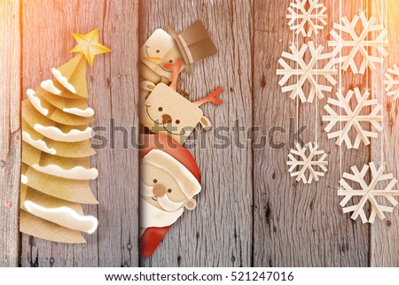 Greeting card, Christmas card with Santa Claus ,deer and snowman,snowflake