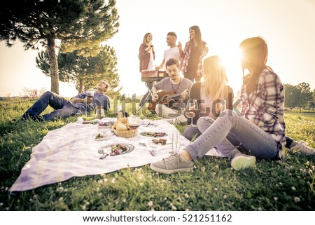 Group of friends having fun while eating and drinking at a pic-nic - Happy people at bbq party #521251162