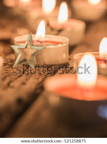 Christmas star and candles, atmospheric christmas decoration  #521258875