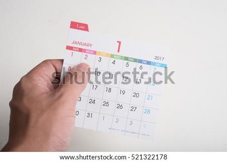 hand hold calendar on white background #521322178