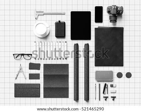 Black and white branding stationery mock up scene. 3D illustration. High quality #521465290